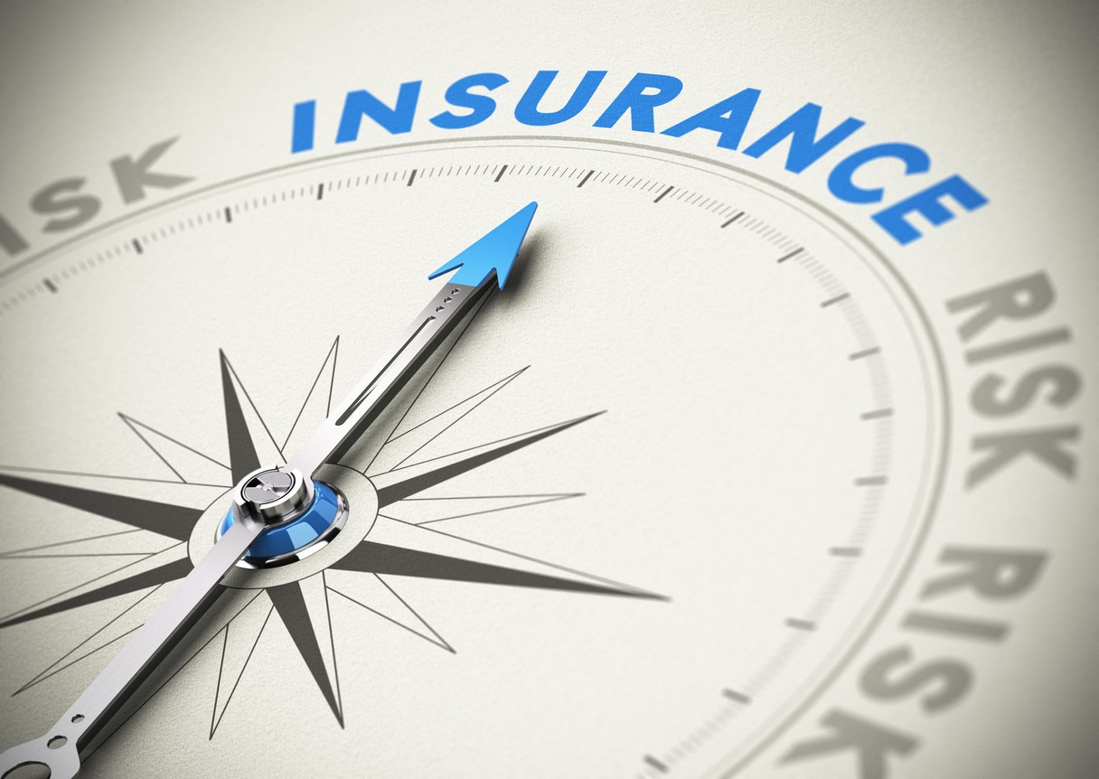 """Compass with needle pointing north to """"insurance"""""""
